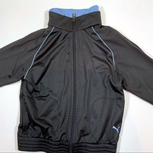 Puma Full Zip Sweater Black and Blue Size L EUC